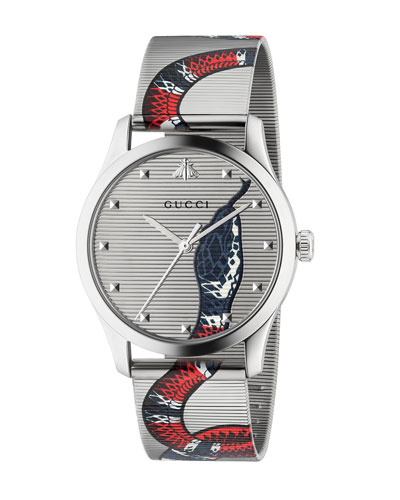 Men's Snake Mesh Stainless Steel Bracelet Watch