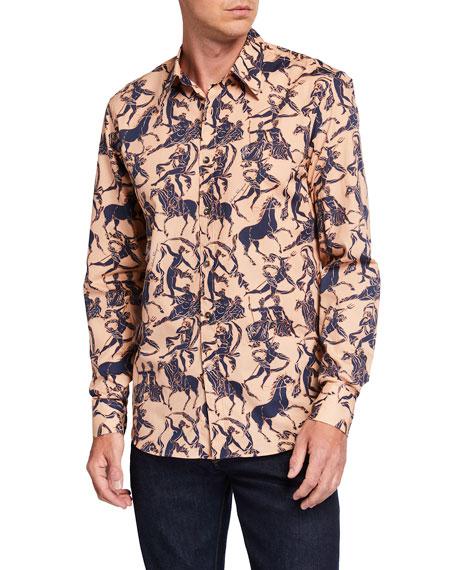 Salvatore Ferragamo Men's Statue-Print Nylon Sport Shirt