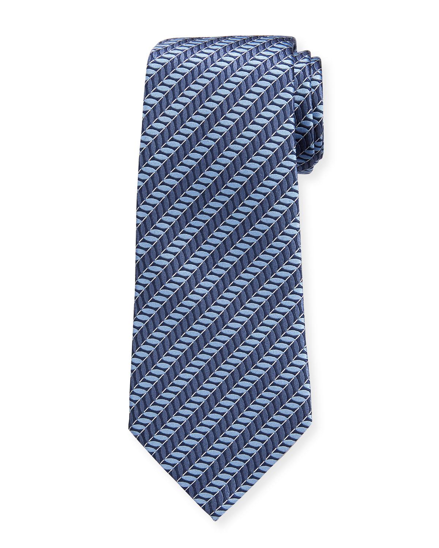 Men's Ribbed Diagonal Stripe Silk Tie