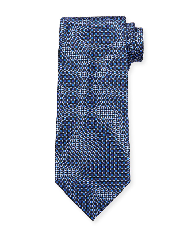 Men's Micro Squares & Circles Silk Tie