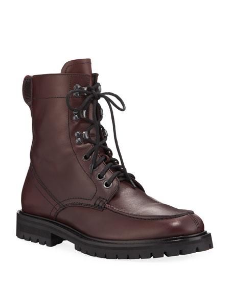 Aquatalia Men's Ira Moc-Toe Weatherproof Leather Combat Boots