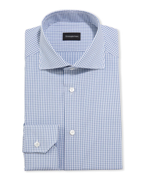 Ermenegildo Zegna Men's Check Cotton Trim-Fit Dress Shirt