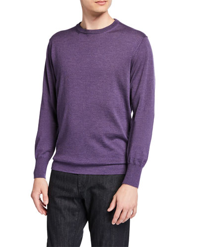 Men's Solid Wool Crewneck Sweater