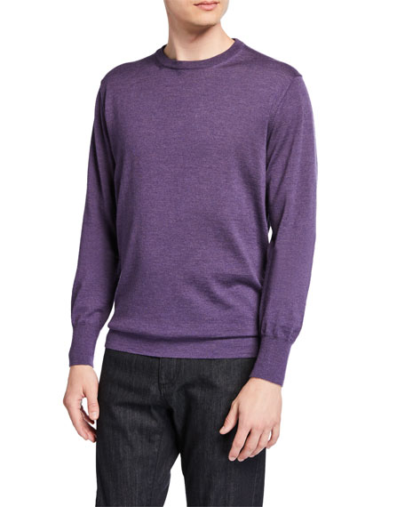 Canali Men's Solid Wool Crewneck Sweater