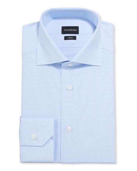 Ermenegildo Zegna Men's Micro-Check Trim-Fit Dress Shirt