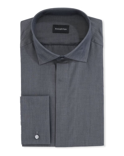 Men's Solid Melange Cotton Dress Shirt