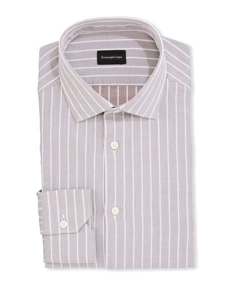Ermenegildo Zegna Men's Striped Cotton Trim-Fit Dress Shirt