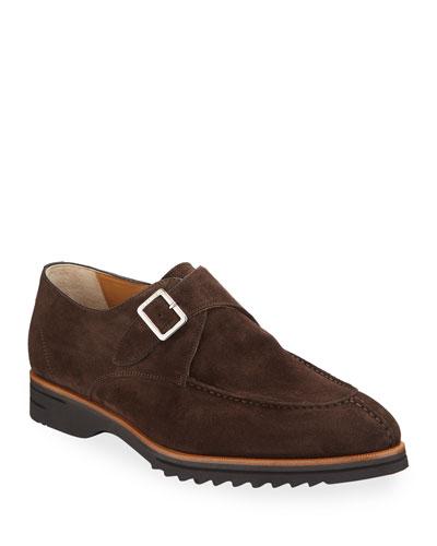 Men's Corvino Single-Monk Suede Dress Shoes