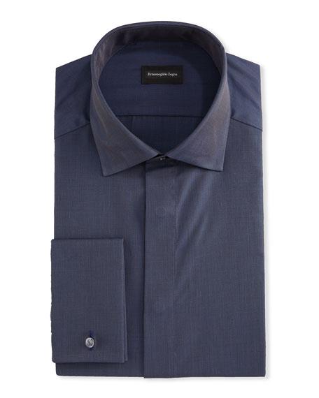 Ermenegildo Zegna Men's Solid Melange Trim-Fit Dress Shirt