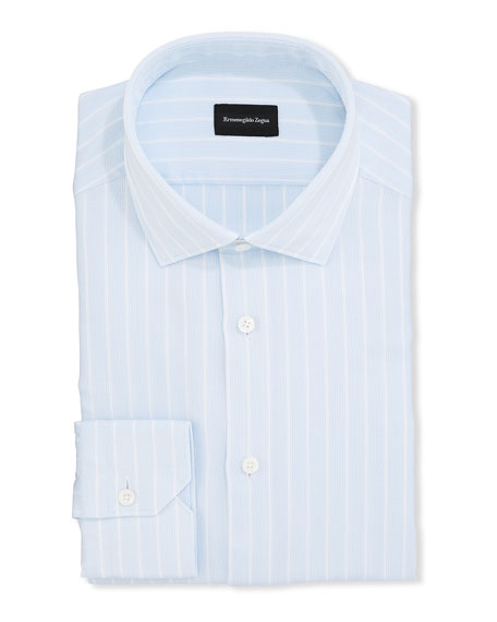 Ermenegildo Zegna Men's Striped Oxford Trim-Fit Dress Shirt