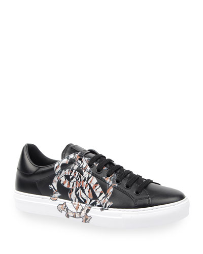 Men's Signature Snake Leather Low-Top Sneakers
