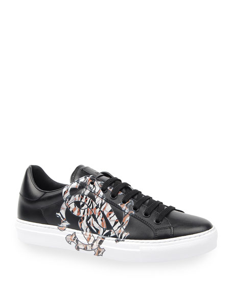 Roberto Cavalli Men's Signature Snake Leather Low-Top Sneakers
