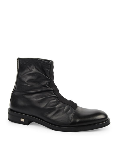Men's Pleated Leather Ankle Boots