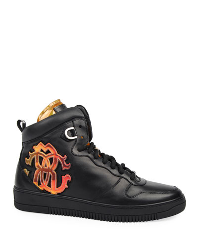 Men's High-Top Leather Sneakers with Logo Applique