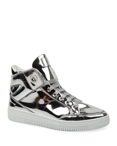 Men's Metallic Leather High-Top Sneakers