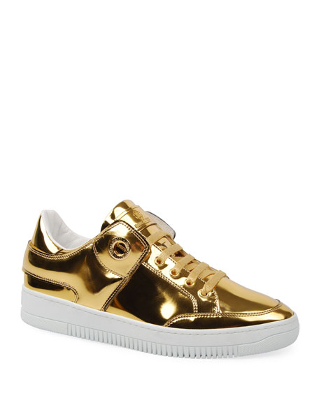Roberto Cavalli Men's Metallic Leather Low-Top Sneakers