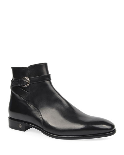 Men's Leather Side-Zip Ankle Boots w/ Buckle Strap