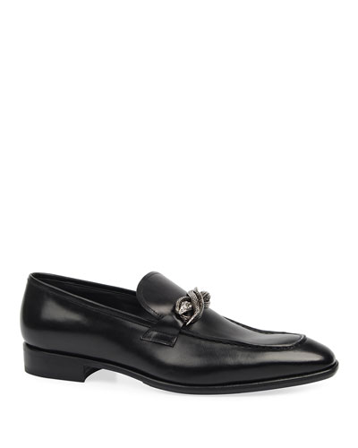 Men's Leather Snake-Bit Loafers