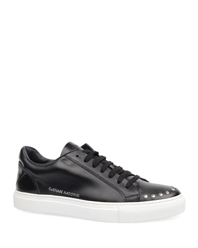 Men's Low-Top Studded Leather Sneakers
