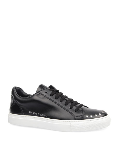 Costume National Men's Low-Top Studded Leather Sneakers