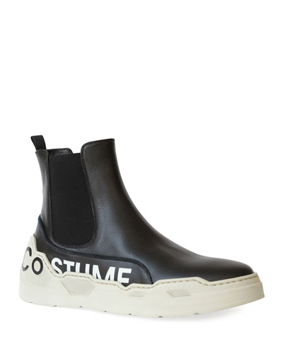 Men's High-Top Leather Chelsea Sneakers with Logo