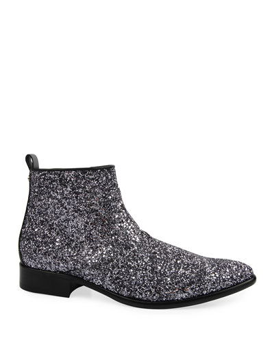 Men's Glitter Side-Zip Ankle Boots