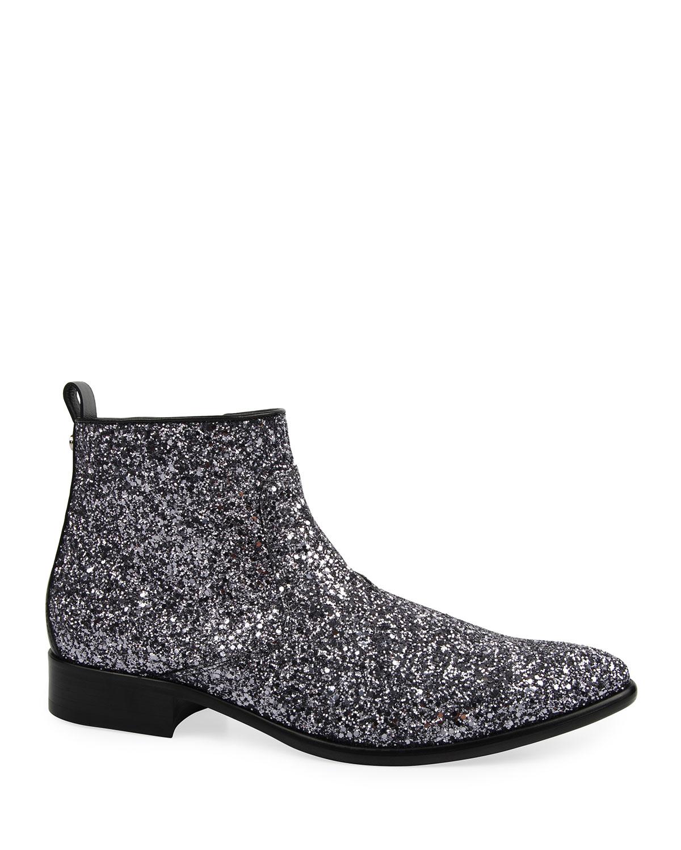 Men's Glitter Side-Zip Ankle Boots