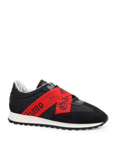 Men's Elastic-Strap Logo Trainer Sneakers
