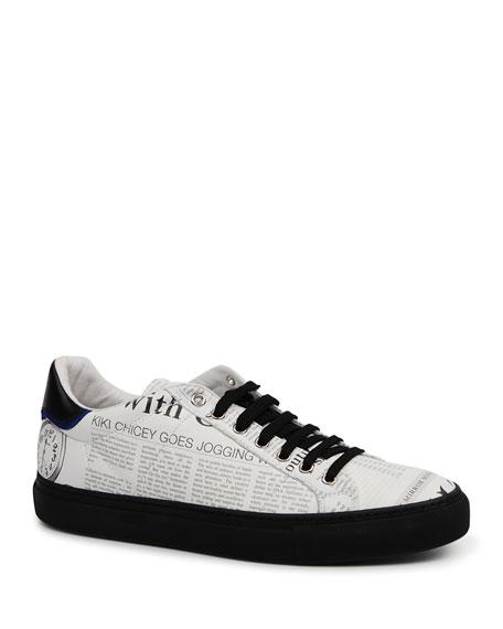 John Galliano Paris Men's Gazette Leather Low-Top Sneakers