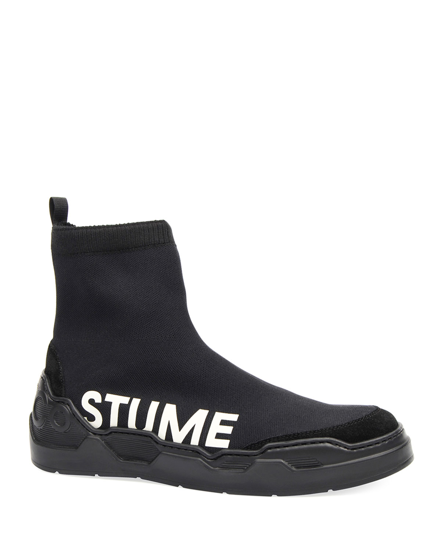 Men's Knit Sock Sneakers with Logo Print