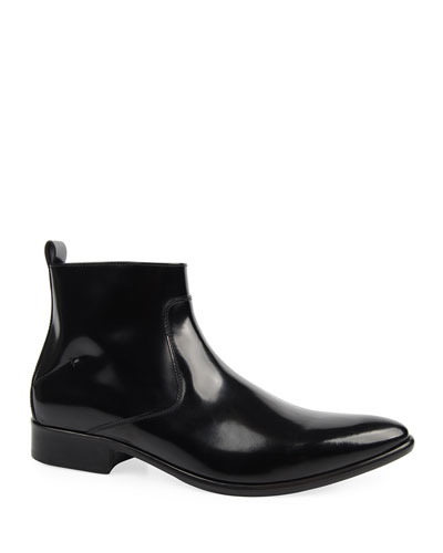 Men's Patent Leather Side-Zip Ankle Boots