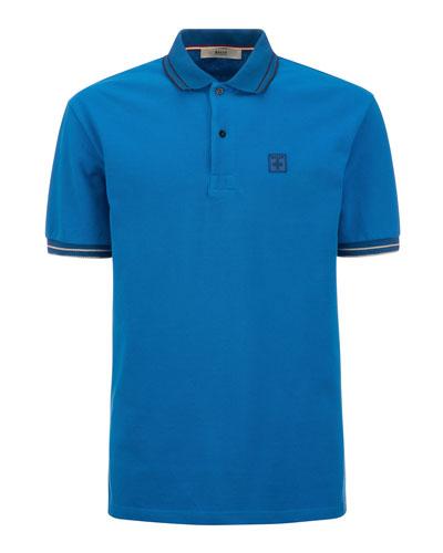 Men's Cotton Pique Polo Shirt with Logo Patch