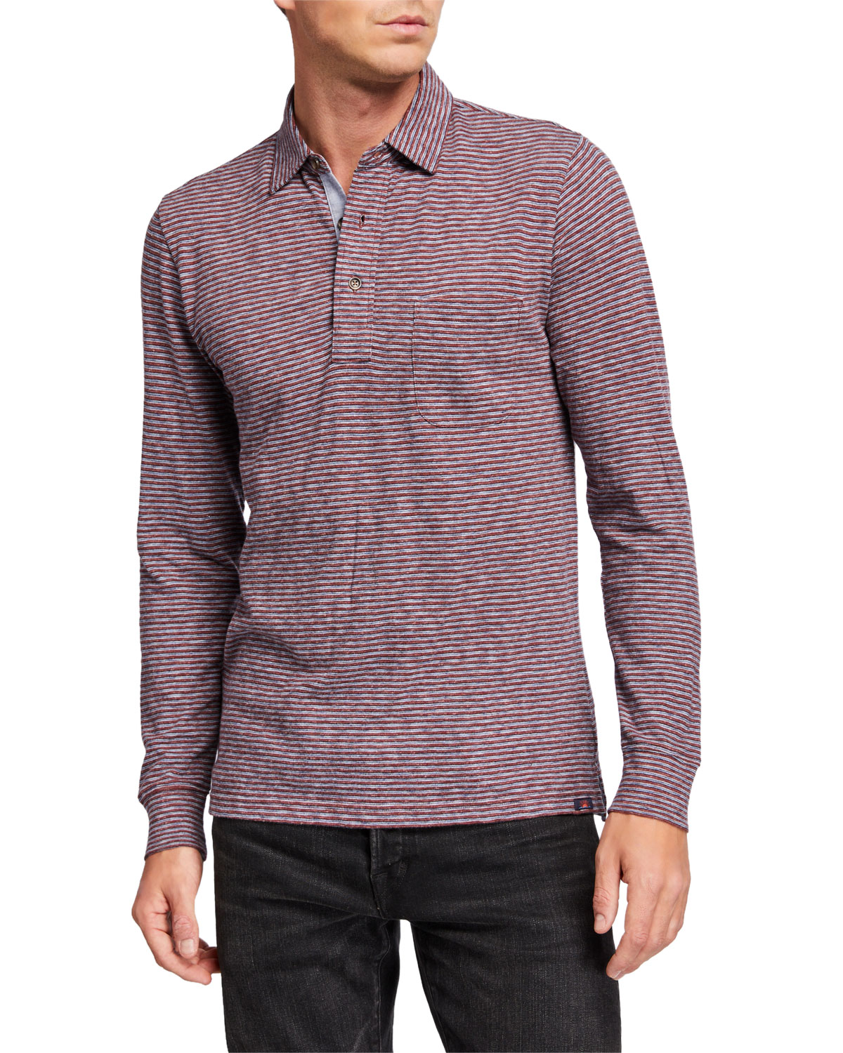 Faherty T-shirts MEN'S LUXE HEATHERED LONG-SLEEVE POLO SHIRT