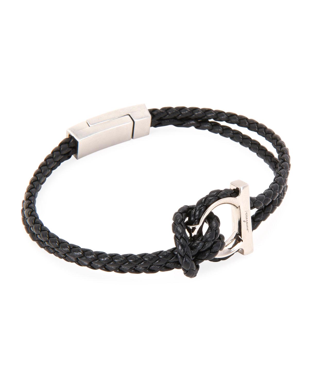 Men's Gancio Braided Leather Rope Bracelet