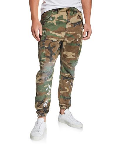 Men's Camouflage Cargo Pants with Paint Spots