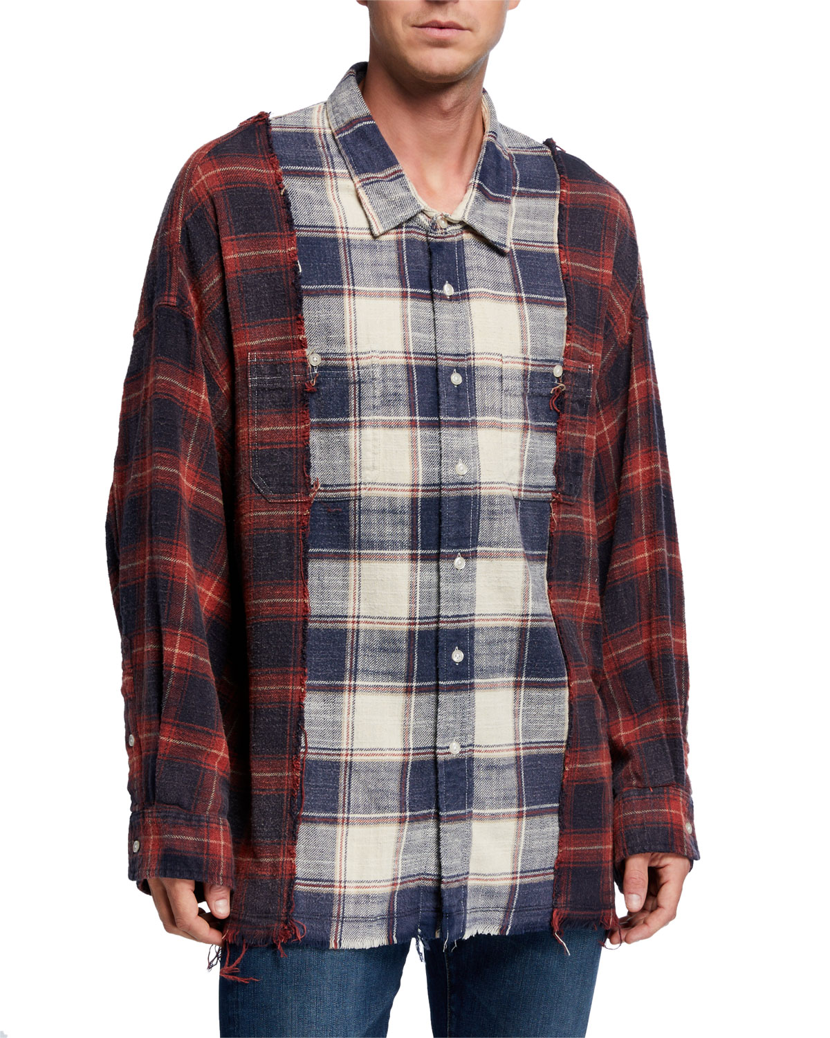 R13 T-shirts MEN'S DROP-NECK COMBINATION PLAID WORK SHIRT