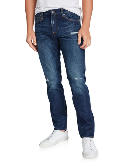 R13 Men's Slim-Fit Distressed Medium-Wash Jeans