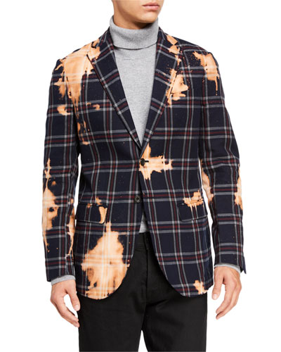 Men's Distressed Tailored Two-Button Jacket