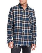 R13 Men's Plaid Shredded-Seam Sport Shirt