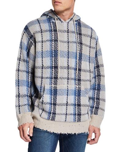 Men's Plaid Hoodie Sweater w/ Raw-Edge Trim