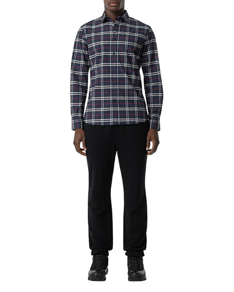 Burberry Men's Simpson Check-Pattern Sport Shirt