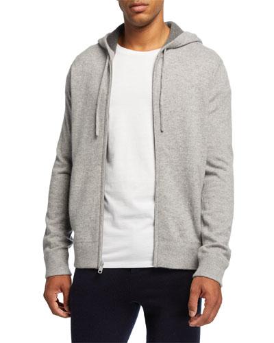Men's Zip-Front Cashmere Hoodie