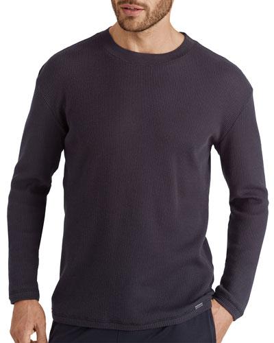 Men's Solid Pique Cotton Long-Sleeve T-Shirt