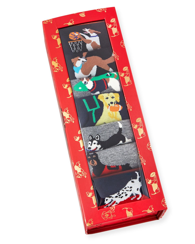 Neiman Marcus Men's Top Dog 7-Pack Combed Cotton Socks