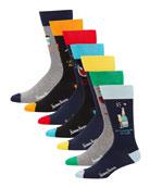 Neiman Marcus Men's 7-Pack Seasonal Puns Socks