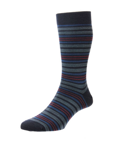 Men's Scholey Repeated Stripe Wool-Blend Socks