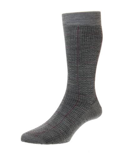 Men's Welbeck Windowpane Spiral Wool-Blend Socks
