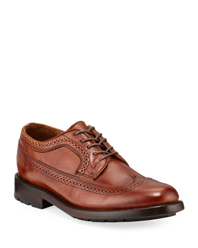 Men's Bowery Leather Wing-Tip Oxfords