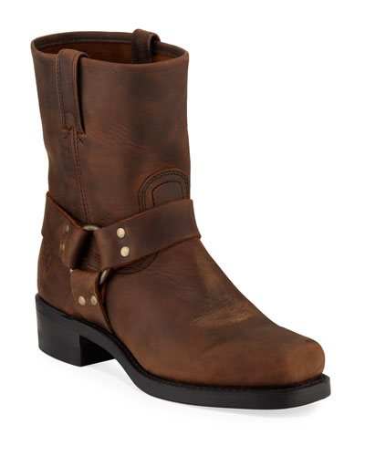 Men's Leather Harness Moto Boots