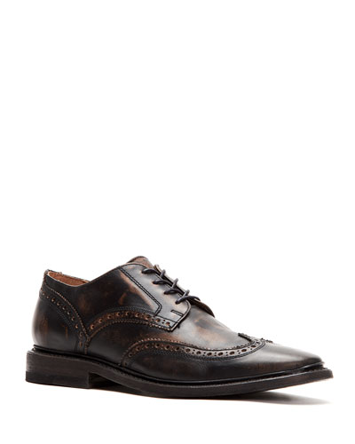 Men's Paul Leather Wing-Tip Derby Shoes